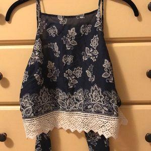 navy blue tie back a&f crop top